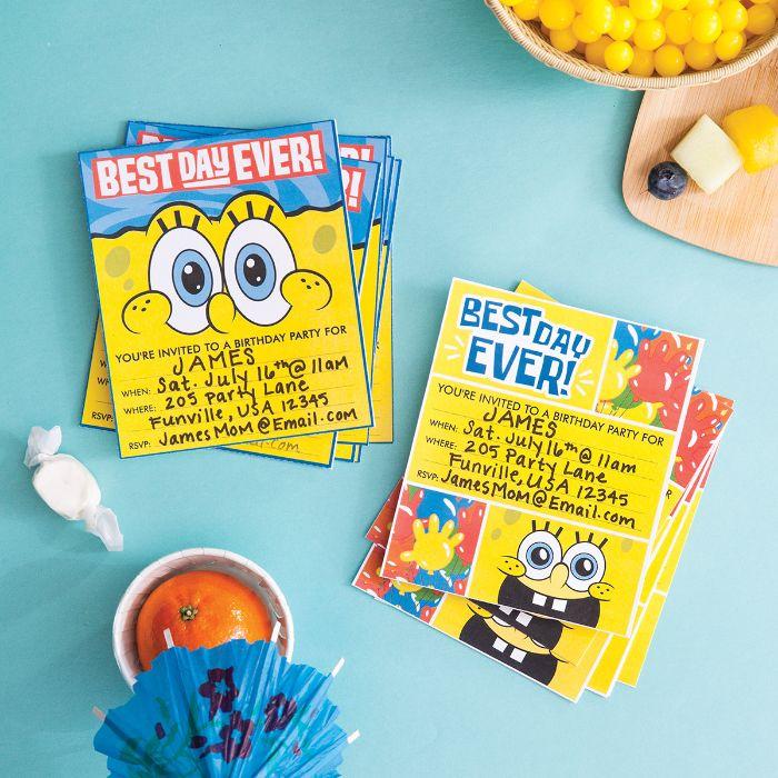 einladung geburtstag vorlage, spongebob karte deko ideen, alles liebe dem geburtstagskind wünschen
