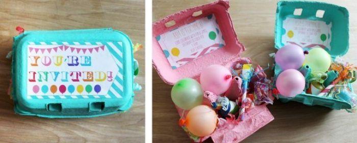 einladungskarten gestalten, kreative idee mit eierschachteln, kasten bunt bemalen und einladung darauf kleben