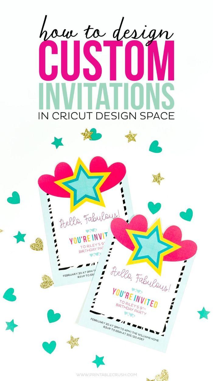 einladungskarten geburtstag, diy idee wie man die karten selber macht, pink und blau sterne, deko ideen