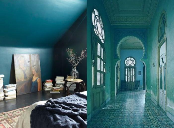 petrol farbe in der architektur und bei der innengestaltung, collage, zwei fotos, orientalisches bau