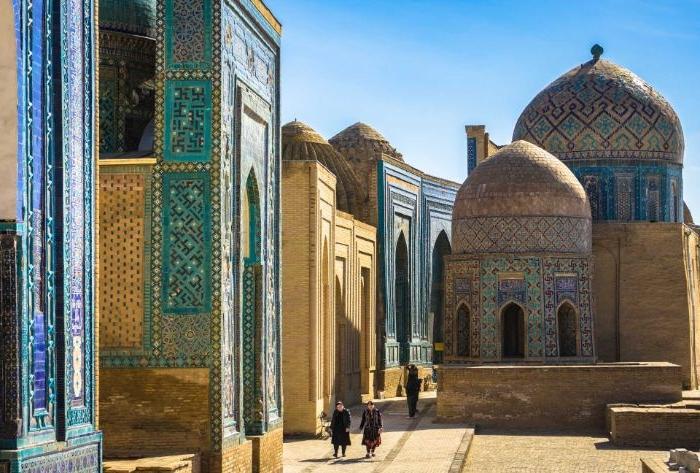 petrol farbe ideen in der architektur, samarkand, eine stadt in usbekistan, schöne orientalische architektur in asien