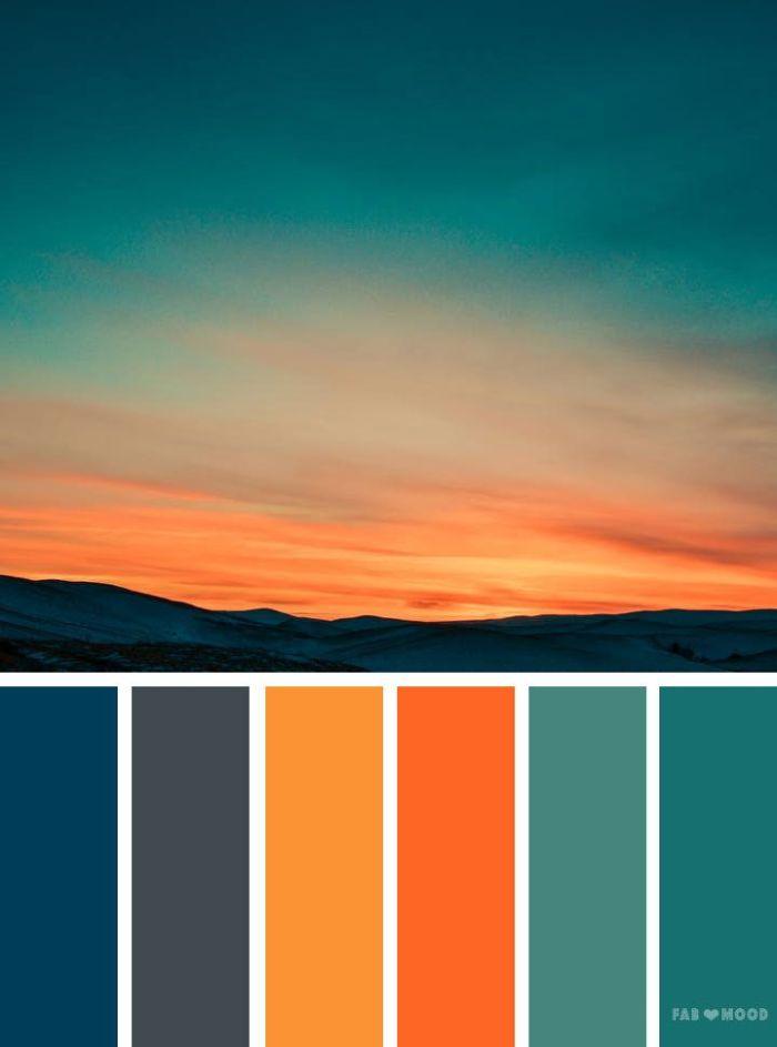 welche farbe passt zu petrol, nuancen des himmels beim sonnenuntergang, farbkombinationen ideen inspiriert von der natur