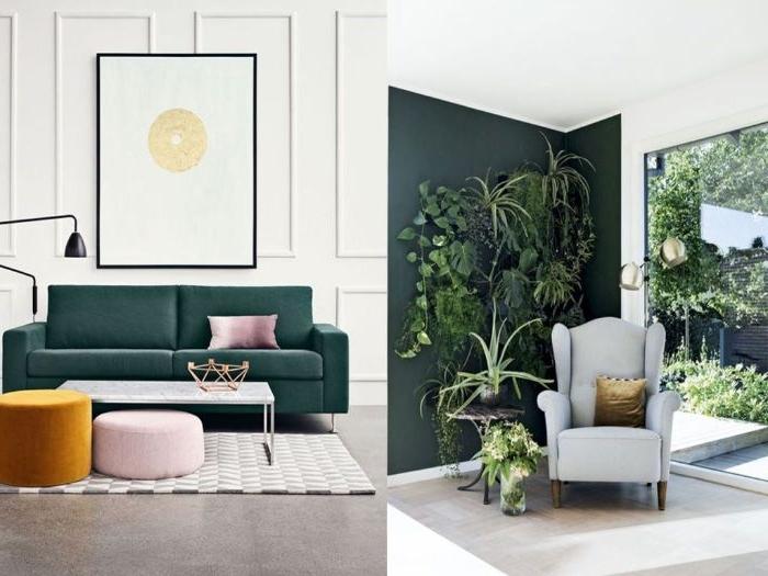 petrol farbe wiki, zwei fotos collage mit wohnideen wohnfarben 2019, sessel und sofa