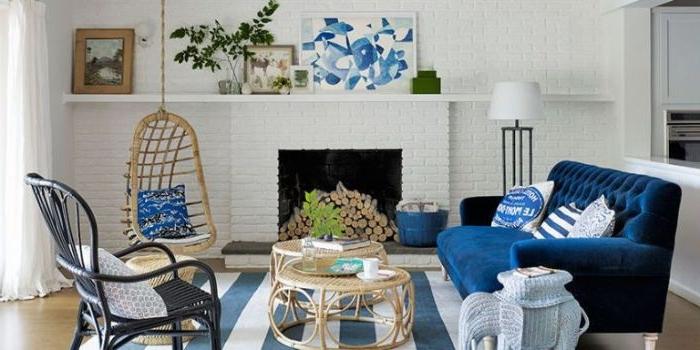 petrol farbe interieur design idee, dekor zum inspirieren, petrolfarbenes sofa, deko