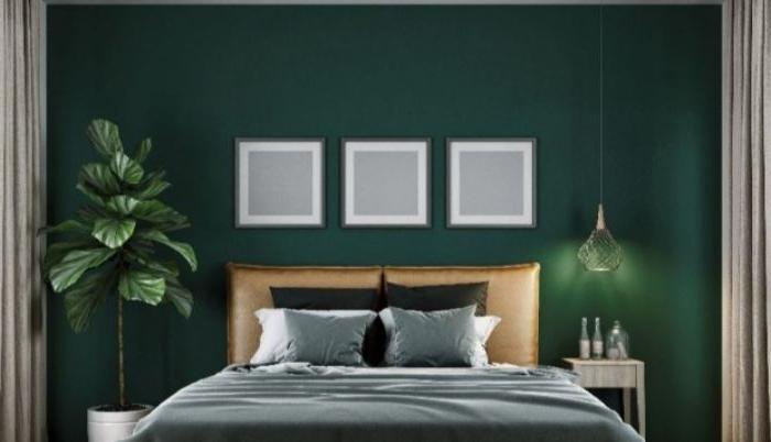 petrol farbe bedeutung, wandgestaltung petrom lit weiß kombiniert und grüne pflanze, natürliche deko