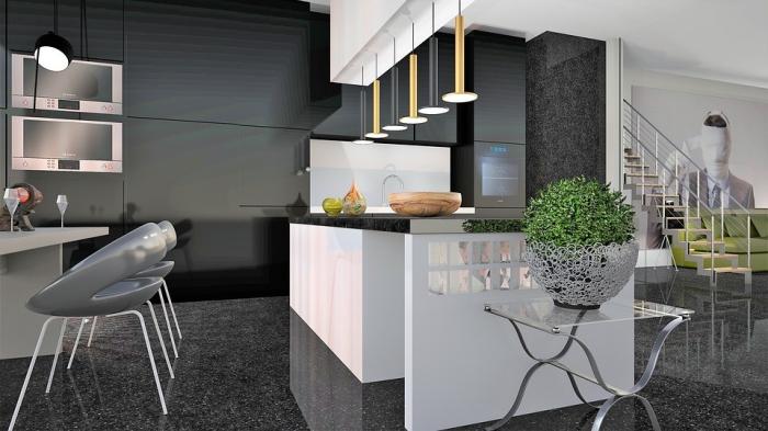 feng shui enrichtung, wohnung einrichten ideen, wohnnungeinrichtung in grau und weiß, grüne pflanze, große kücheninsel