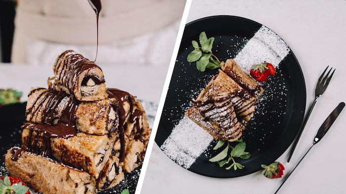 French Toast Roll-Ups mit Banane und Schokoaufstrich, Brunch Idee für Kinderparty