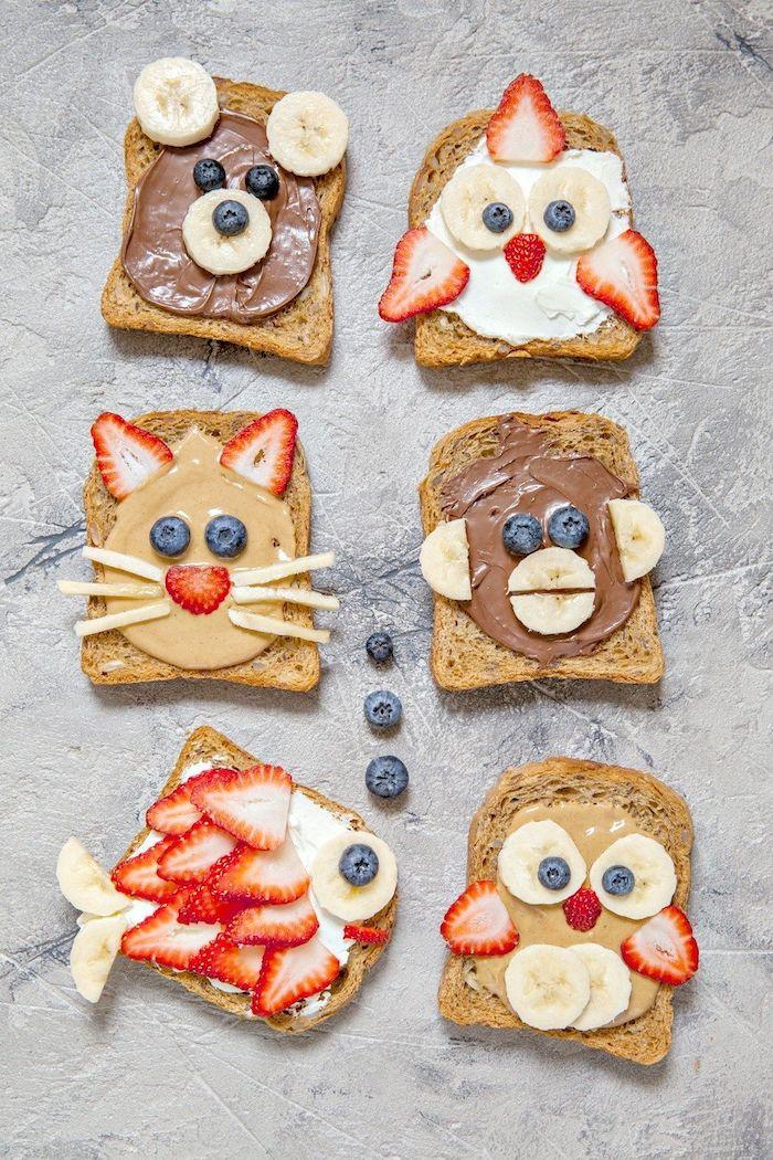 Toasts für Kinderparty, mit Erdnussbutter, Schokolade und Frischobst, Toasts als Tiere