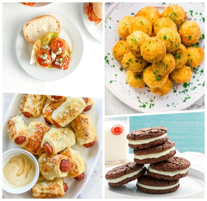 partyessen ideen, kroketten mit füllung aus käse und fleisch, fingerfood rezepte einfach, eiscreme sandwiches