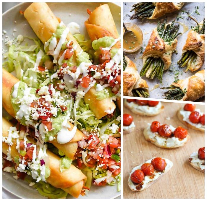 fingerfood rezepte einfach, gebäcke mit spargeln, bruschettas mit zerigekäse und cherra tomaten