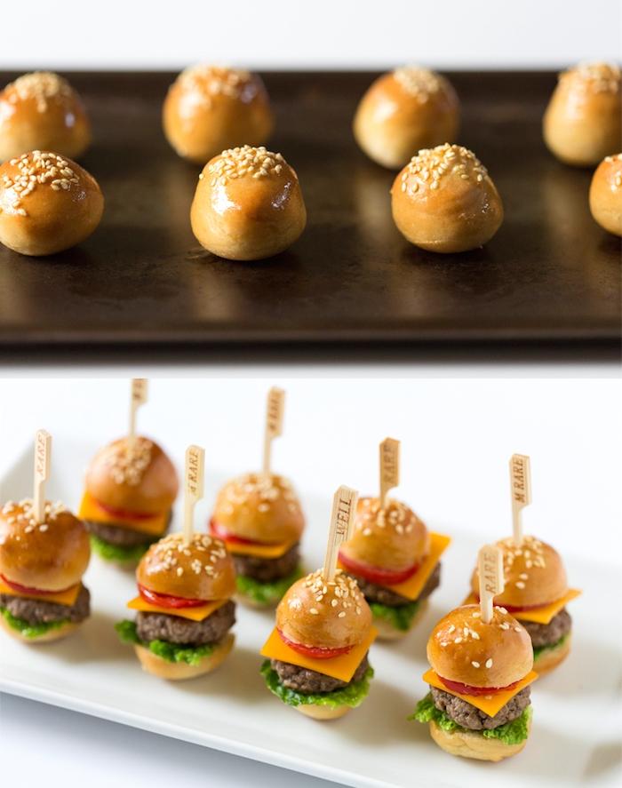 Mini Burger selber machen, leichte und schnelle Fingerfood Idee, kleine Snacks für Gäste