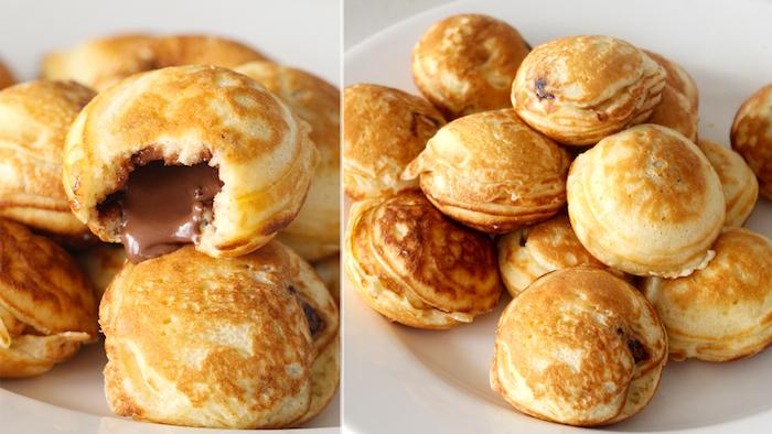 Mini Pfannkuchen mit Nutella Füllung, schnelle Snacks für Party, Fingerfood zum Vorbereiten