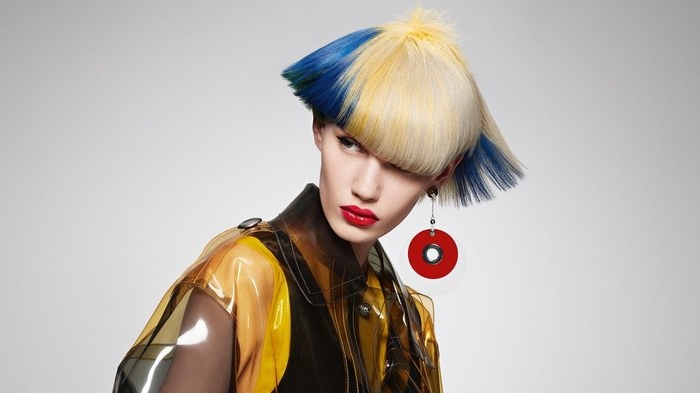 haarfarben trends bunte gestaltung von der frisur, ausgefallene ideen, blond blau