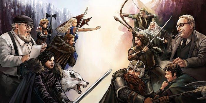 the lord of the rings vs game of thrones, ein weißer wolf und eine frau mit blondem haar, männer mit schwerten, die autorem martin und tolkien