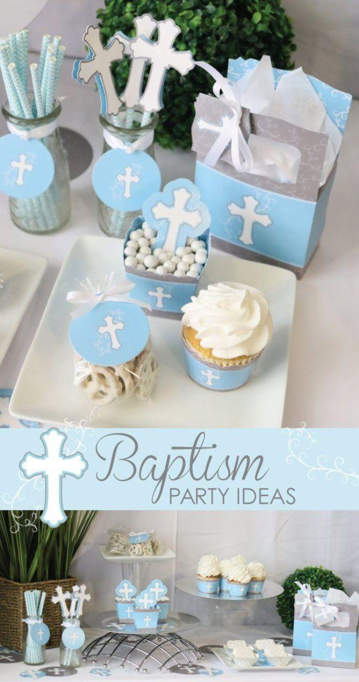 gastgeschenke konfirmation, geschenkidee blaue deko für die taufparty, kreuz gestaltung, muffins, pralinen