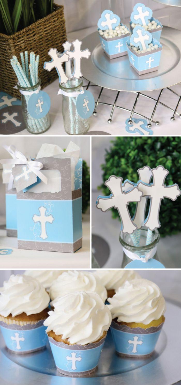 taufe deko ideen in blau und weiß für die party eines jungen, muffins, kerze, strohhalme