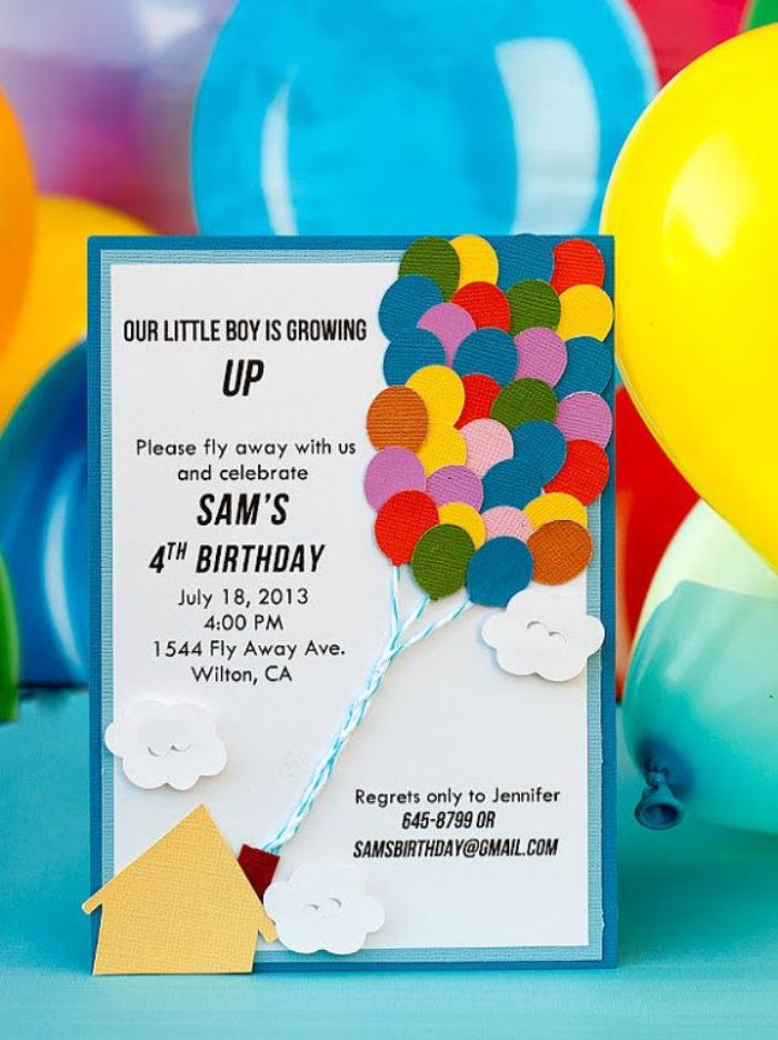 einladung geburtstag vorlage, viertes geburtstag einladung mit ballons, kreative ideen