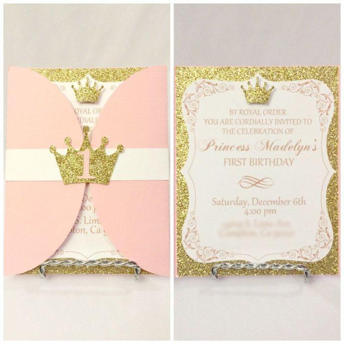 einladungen drucken, rosa und golden auf weißem vorlage, prinzessinnen party idee