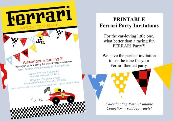einladungen drucken, eine ferrari party idee mit auto auf der einladungskarte