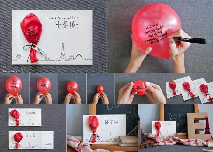einladungen drucken, auf ballon den einladungstext aufschreiben, es an karte anhängen und abschicken