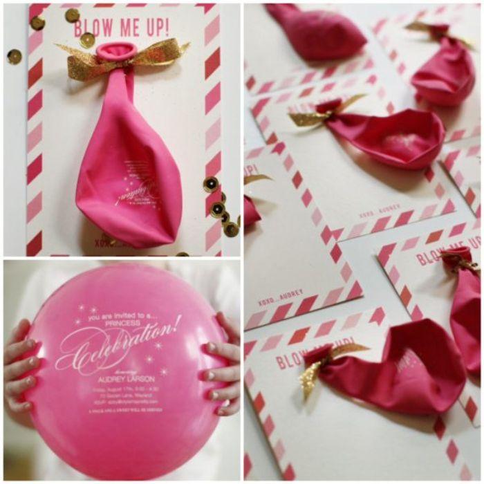 einladungen drucken, ballon einladungskarte, rosa einladung, blow up aufschrift