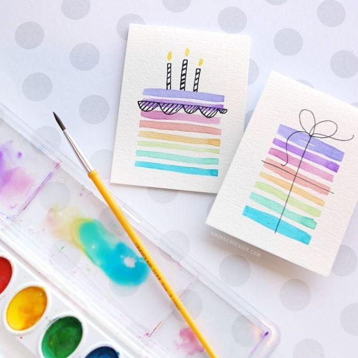 einladungskarten kindergeburtstag basteln, idee für karte mit einer torte darauf, mit wasserfarben malen
