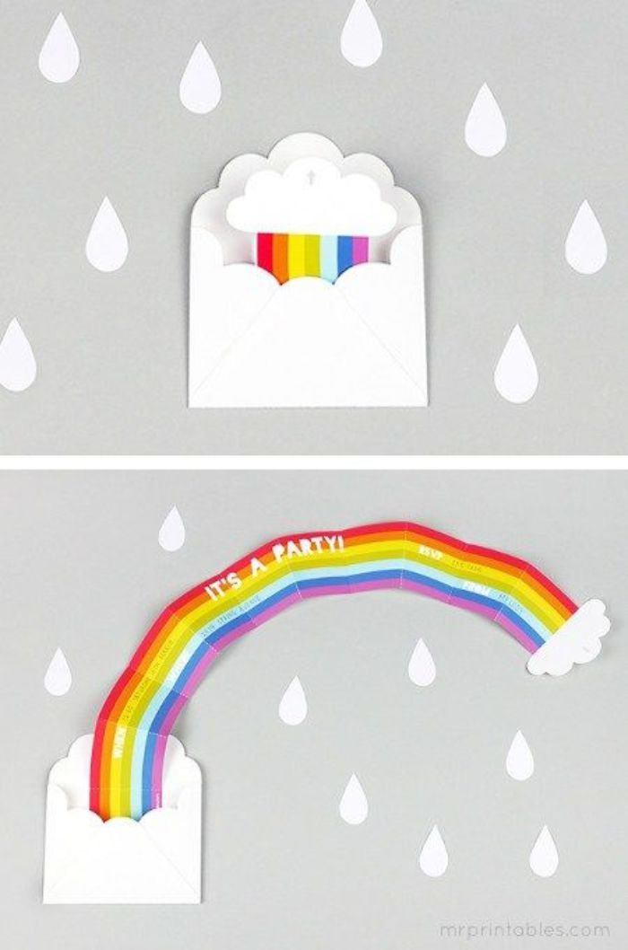 einladungskarten kindergeburtstag basteln, regenbogen kartendesign, briefumschlaf als wolke gestalten