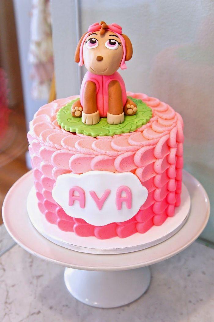 Rosa Geburtstagstorte für Mädchen mit Skye, große Tortenfigur, ausgefallener Kuchen für Kindergeburtstag