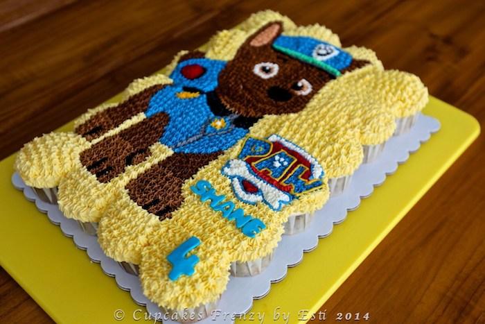 Paw Patrol Kindergeburtstagstorte selber backen und dekorieren, Geburtstagstorte mit Chase