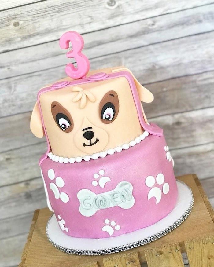 Paw Patrol Geburtstagstorte für Mädchen mit Skye, zweistöckige Fondant Torte