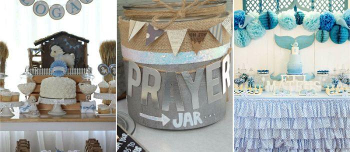 servietten taufe, details an der gestaltung von dekor für eine taufe, blau und weiß