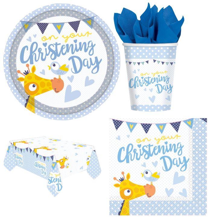 servietten taufe ideen mit kleinen giraffen, deko ideen zum entlehnen,, blau gelb