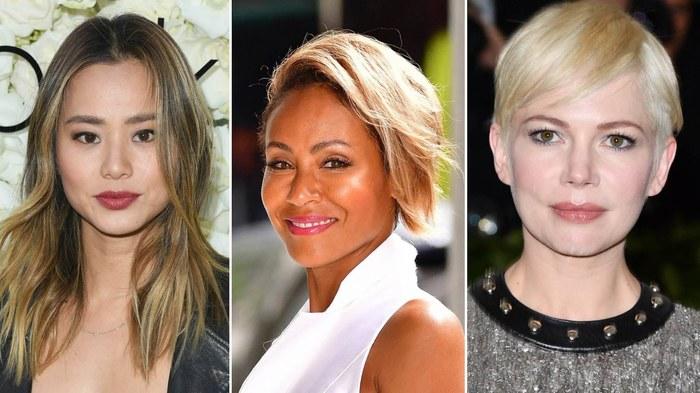 strähnchen 2020, collagebild mit drei fotos von frauen, kurze und lange haarfrisuren