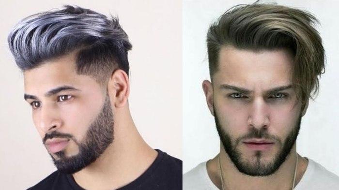 haar trend 2019, männerfrisuren 2020, zwei männer mit bunten haaren, haarfarbe stil ideen