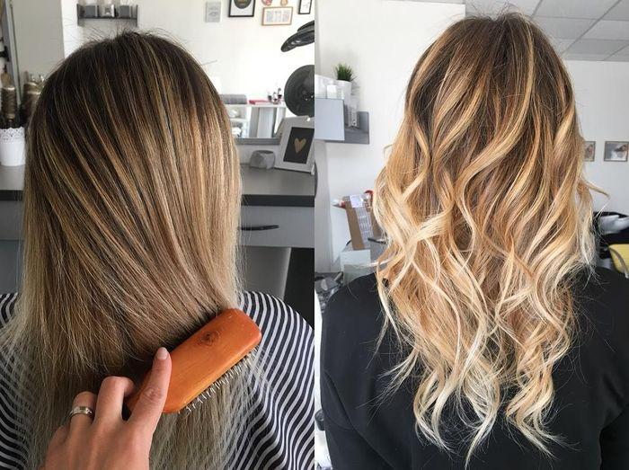 haarschnitt 2019 und prächtige haargestaltung, braune haare mit balayage blond, mit und ohne locken