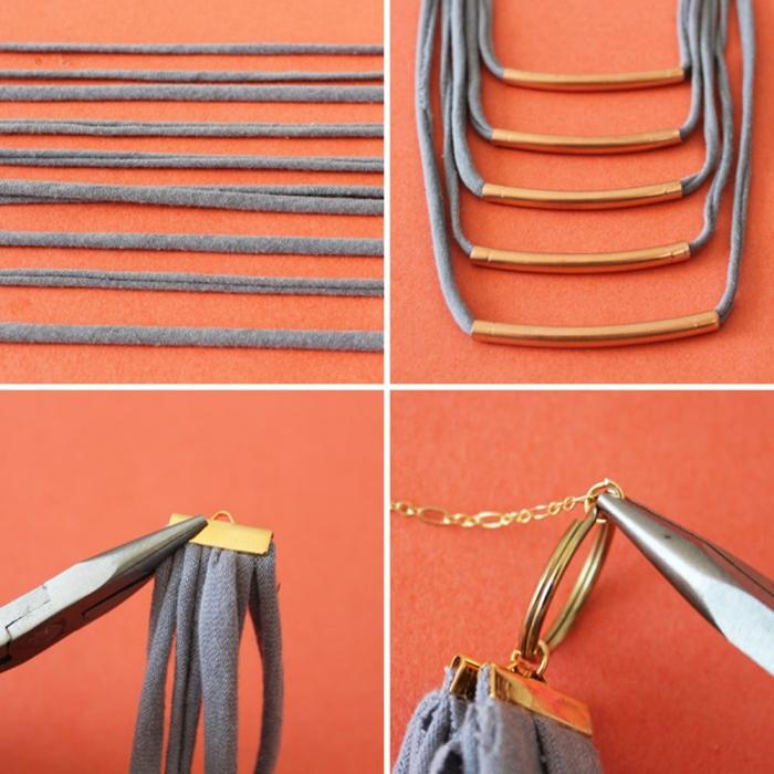 halskette selber machen schritt für schritt, großes stoffband, einfaches tutorial, schmuckzange