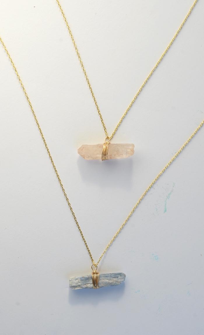 halskette selber machen, selsbtgemachter schmuck mit steinen, goldene halskette