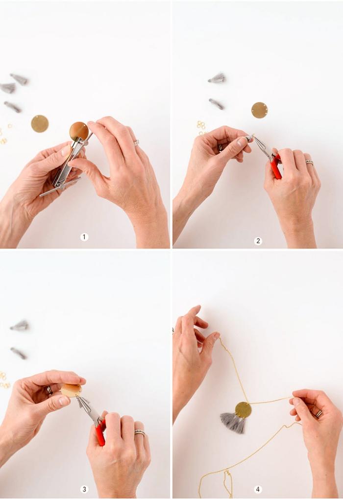 halsketten selber machen, diy bastelanleitung, kettenanhänger selsbt gestalten, goldene kreise, troddeln
