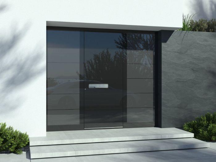 aluminium haustür und graue treppen