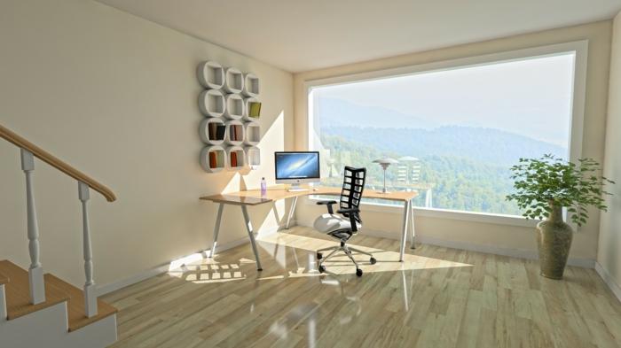 Holz als natürlicher Baustoff, Laminat im Arbeitszimmer in ein Haus mit Panorama