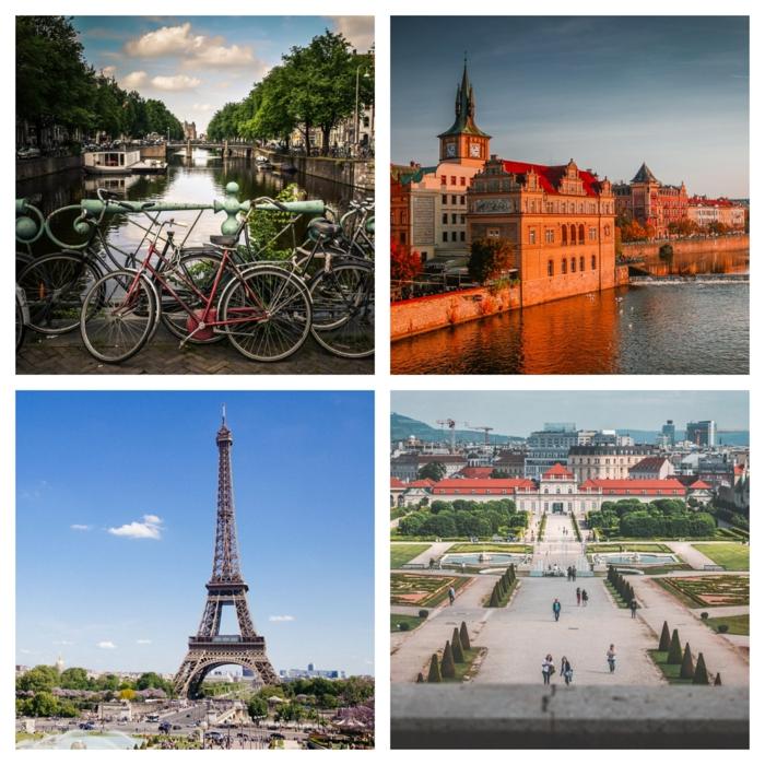 die vier Städte, wo sich das JGA Fotoshooting stattfinden kann, Amsterdam, Prag, Paris und Wien