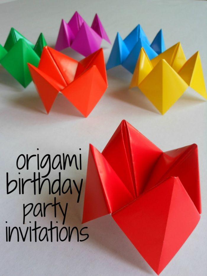 geburtstagseinladung kinder, kreative und bunte diy karten erfreuen die kinder, buntes papier, papierkunst aus japan zu karten machen