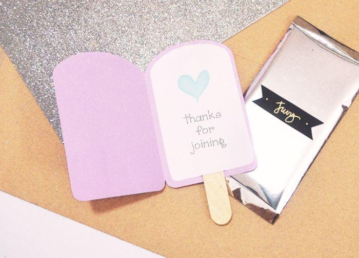 einladung kindergeburtstag basteln, kleines dankeschön mit karte sagen, rosa papier deko idee