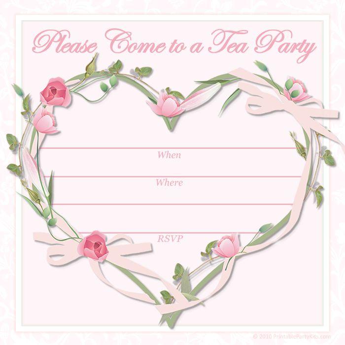 einladung kindergeburtstag basteln, teeparty einladung weiß und rosa herz aus blümchen und grünem staub