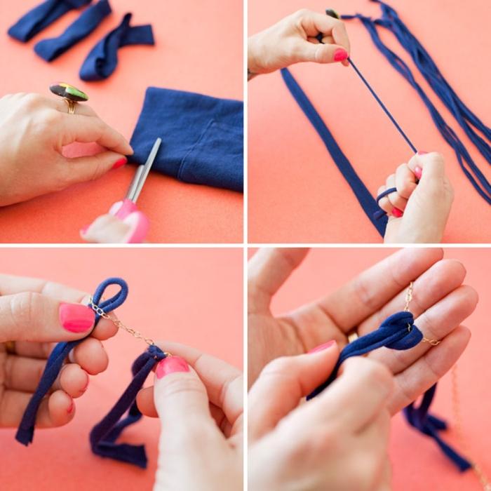 upcycling ideen, halskette aus streifem blauem stoff, ketten basteln anleitung schritt für schritt