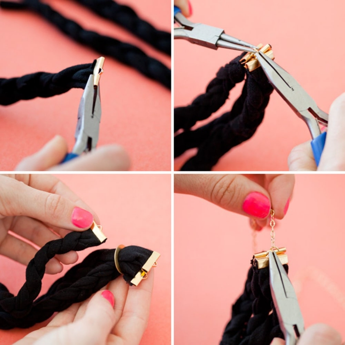 ketten basteln diy anleitung schritt für schritt, zopf flechten, schwarzes stoffband, schmuckzange