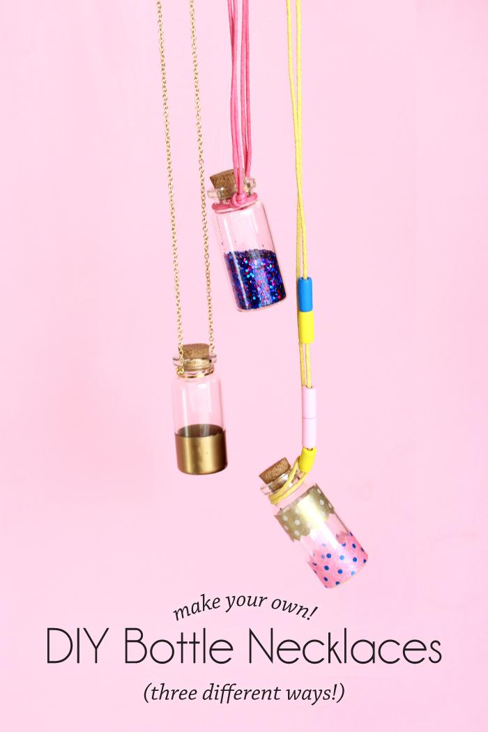 ketten selber machen, selsbtgemachte halsketten mit kleinen korkenflaschen, washi tapes