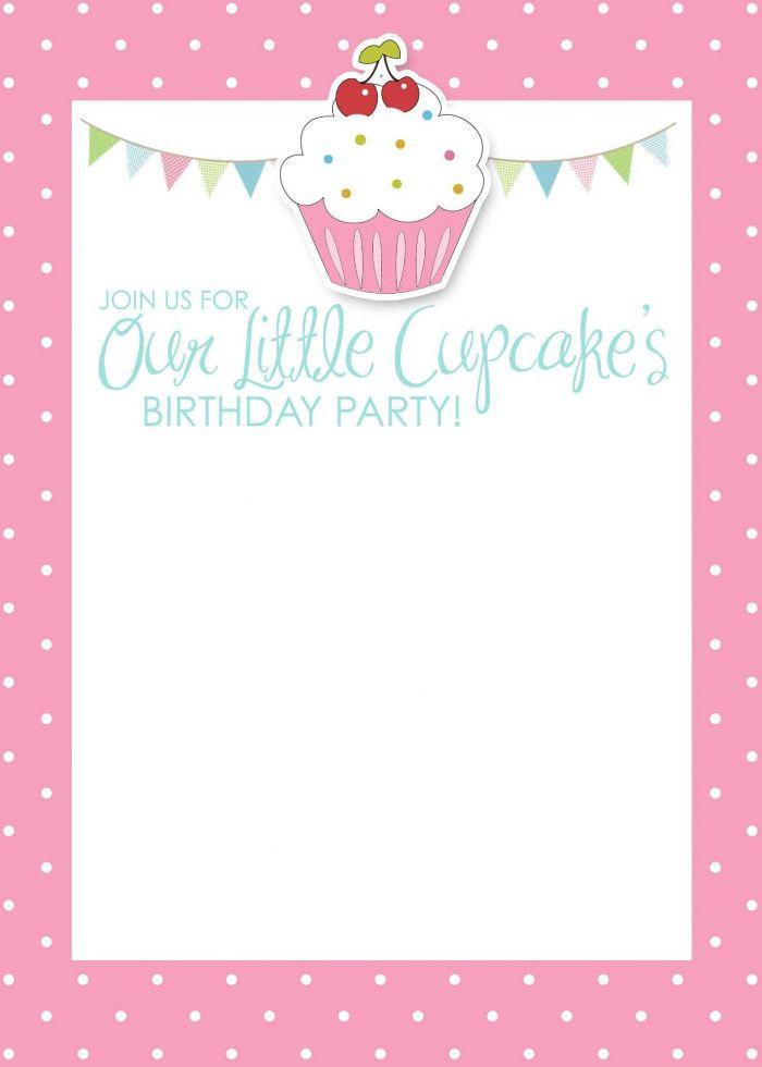 einladung kindergeburtstag basteln, cupcake party idee, einladung vorlage in rosa mit cupcake und kirschen deko