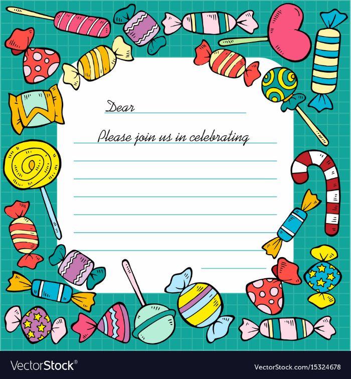 einladung kindergeburtstag basteln, bonbon party, pralinen, lutscher und deko