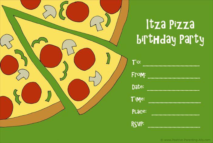 einladung kindergeburtstag basteln, pizza party idee, jeder will zur party kommen itza pizza